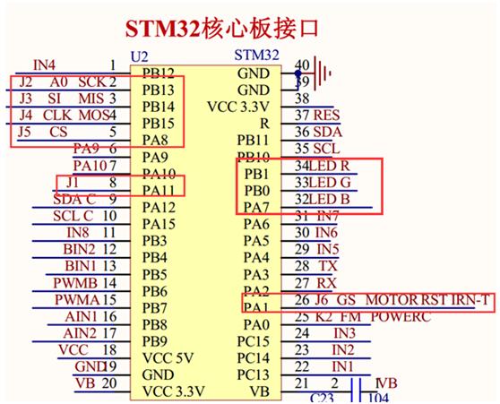 理解原理图    由图4-1和4-2 由电路原理图可知舵机云台我们是接在j1